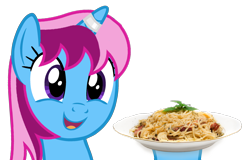 Size: 2348x1500 | Tagged: safe, alternate version, artist:indonesiarailroadpht, oc, oc only, oc:parcly taxel, species:alicorn, species:pony, alicorn oc, female, food, horn, mare, pasta, simple background, smiling, solo, spaghetti, transparent background, wings