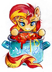 Size: 770x1063 | Tagged: safe, artist:lailyren, character:sunset shimmer, species:pony, species:unicorn, g4, female, food, pasta, solo, spaghetti