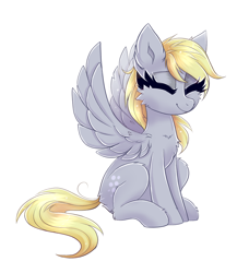 Size: 1748x2018   Tagged: safe, artist:ravensunart, character:derpy hooves, species:pegasus, species:pony, cheek fluff, chest fluff, cute, derpabetes, ear fluff, eyes closed, female, mare, simple background, sitting, solo, white background