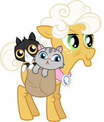 Size: 6904x8101 | Tagged: safe, artist:gezawatt, character:goldie delicious, species:earth pony, species:pony, episode:pinkie apple pie, g4, my little pony: friendship is magic, :p, absurd resolution, animal, bag, blep, cat, female, goldie delicious' cats, mare, silly, simple background, solo, tongue out, transparent background, vector