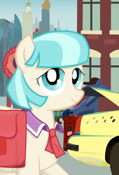Size: 1408x2074 | Tagged: safe, artist:apocheck13, character:coco pommel, species:pony, episode:rarity takes manehattan, g4, my little pony: friendship is magic, building, car, cocobetes, crystaller building, cute, digital art, female, looking at you, manehattan, mare, saddle bag, smiling, solo, suitcase, taxi