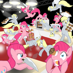 Size: 955x964   Tagged: safe, artist:shutterflye, character:derpy hooves, character:pinkamena diane pie, character:pinkie pie, species:pegasus, species:pony, cupcakes vs muffins, eye poke, eye scream, female, fight, knife, mare, muffin, multeity, this will end in pain, too much pink energy is dangerous