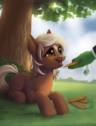 Size: 2882x3767   Tagged: safe, artist:taytinabelle, oc, oc:anon, species:earth pony, species:pony, blank flank, bush, carrot, cute, daaaaaaaaaaaw, ear fluff, female, filly, food, grass, happy, herbivore, hnnng, looking up, lying down, ponified, prone, smiling, solo focus, sweet dreams fuel, tree, verity