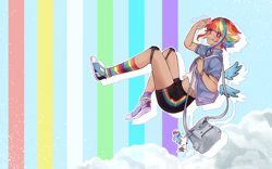 Size: 2560x1600 | Tagged: safe, artist:kawurin, character:rainbow dash, species:human, species:pegasus, species:pony, g4, alternate hairstyle, ambiguous race, anime, bag, clothing, cloud, cloudsdale, converse, dark skin, ear piercing, earring, female, flying, grin, gym shorts, handbag, happy, humanized, jacket, jewelry, key ring, knee pads, mare, midriff, multicolored hair, piercing, pink eyes, rainbow, rainbow socks, salute, shirt, shoes, short hair, shorts, smiling, sneakers, socks, solo, striped socks, tanktop, watermark, winged humanization, wings