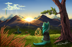 Size: 5100x3300 | Tagged: safe, artist:supermoix, character:lyra heartstrings, species:pony, species:unicorn, g4, clothing, cloudsdale, dig the swell hoodie, face not visible, female, food, grass, hoodie, magic, mare, morning, mountain, ponyville, rainbow waterfall, scenery, scenery porn, solo, sun, tree, twilight's castle, wheat