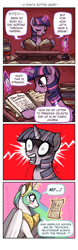 Size: 504x1610 | Tagged: safe, artist:emlan, character:princess celestia, character:twilight sparkle, species:alicorn, species:pony, species:unicorn, comic:a pony's rotten heart, g4, blushing, clopfic, comic, eyes closed, fail, fanfic, female, frown, fujoshi, implied shipping, john watson, letter, magic, mare, mix-up, open mouth, reading, sherlock holmes, shipping, shocked, smiling, sweat, telekinesis
