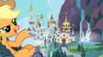 Size: 1268x713   Tagged: safe, artist:hereward, edit, character:applejack, character:princess celestia, character:rainbow dash, character:twilight sparkle, species:pony, canterlot, collage, female, giant pony, giant/macro earth pony, giantess, growth, macro, mega applejack, vector, vector edit