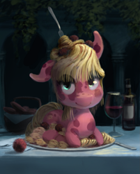 Size: 955x1188 | Tagged: safe, artist:bakuel, species:pony, alcohol, food, food pony, fork, looking at you, meatballs, original species, pasta, plate, ponified, spaghetti, wine