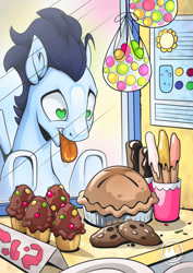 Size: 955x1351 | Tagged: safe, artist:mysticalpha, character:soarin', species:pegasus, species:pony, bakery, candy, cookie, cupcake, eclair, food, heart eyes, looking at something, male, open mouth, pie, solo, stallion, that pony sure does love pies, tongue out, want, wingding eyes
