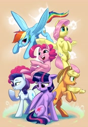 Size: 2847x4096   Tagged: safe, artist:silverhopexiii, character:applejack, character:fluttershy, character:pinkie pie, character:rainbow dash, character:rarity, character:twilight sparkle, species:alicorn, species:pegasus, species:pony, species:unicorn, anniversary, grass, simple background
