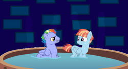 Size: 1337x728   Tagged: safe, artist:dashiesparkle edit, artist:electrochoc, artist:zigrock, edit, character:bow hothoof, character:windy whistles, ship:windyhoof, accessory-less edit, female, hot tub, husband and wife, looking at each other, male, missing accessory, shipping, smiling, steam, straight, tub, vector, vector edit