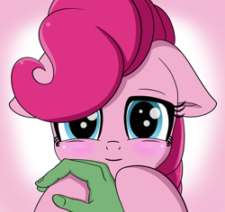 Size: 3700x3500   Tagged: safe, artist:crimsonsky, character:pinkie pie, oc, oc:anon, species:human, blushing, cute, diapinkes, hand, hoof hold, offscreen character, pov, smiling, smiling at you