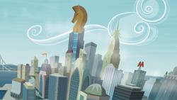 Size: 3266x1837 | Tagged: safe, artist:abion47, background, bridge, city, cityscape, crystaller building, manehattan, no pony, pier