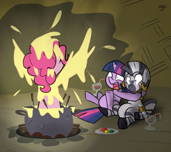 Size: 1123x999 | Tagged: safe, artist:grilledcat, character:pinkie pie, character:twilight sparkle, character:zecora, species:zebra, female, fondue, hug, lesbian, shipping, twicora