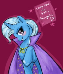 Size: 681x800   Tagged: safe, artist:donenaya, character:trixie, species:pony, species:unicorn, ship:twixie, g4, blushing, dialogue, female, heart, implied lesbian, implied shipping, implied twilight sparkle, implied twixie, looking at you, mare, photoshop, raised hoof, red background, simple background, solo, trixie's cape, trixie's hat