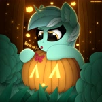 Size: 3000x3000 | Tagged: safe, artist:alexbefest, character:lyra heartstrings, species:pony, species:unicorn, g4, butterfly, cute, female, halloween, holiday, jack-o-lantern, mare, pumpkin, solo, spooky