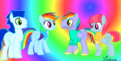 Size: 1280x646   Tagged: safe, artist:mlplary6, character:bow hothoof, character:rainbow dash, character:soarin', character:windy whistles, species:pegasus, species:pony, ship:soarindash, ship:windyhoof, female, male, shipping, straight