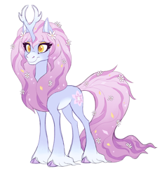 Size: 2000x2163   Tagged: safe, artist:heilos, character:tree of harmony, oc, oc:harmony (heilos), species:classical unicorn, species:pony, species:unicorn, alternate design, cloven hooves, female, flower, flower in hair, leonine tail, mare, ponified, simple background, smiling, solo, tree of harmony, treehouse of harmony, unshorn fetlocks, white background