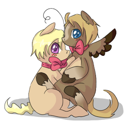 Size: 400x400 | Tagged: safe, artist:ask-pony-gerita, species:earth pony, species:pegasus, species:pony, bowtie, brothers, canada, colt, duo, hetalia, hug, male, ponified, siblings, simple background, transparent background, united states, unshorn fetlocks