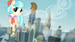 Size: 1280x720 | Tagged: safe, artist:abion47, artist:itv-canterlot, edit, editor:jaredking203, character:coco pommel, species:earth pony, species:pony, g4, building, female, giant pony, giant/macro earth pony, giant/mega coco pommel, giantess, highrise ponies, macro, manehattan, mare, mega giant, vector, vector edit