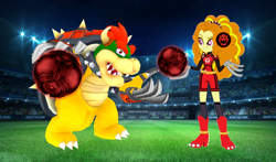 Size: 1824x1074 | Tagged: safe, artist:cookiechans2, artist:super-nick-2001, artist:vg805smashbros, base used, character:adagio dazzle, species:human, g4, my little pony:equestria girls, ball, barely eqg related, bowser, claws, clothing, crossover, female, football, lights, male, mario strikers charged, nintendo, sidekick, soccer field, soccer shoes, socks, sports, sports outfit, super mario bros., super mario strikers