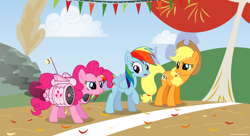 Size: 1980x1080 | Tagged: safe, artist:larsurus, character:applejack, character:pinkie pie, character:rainbow dash, species:earth pony, species:pegasus, species:pony, episode:fall weather friends, g4, my little pony: friendship is magic, adobe illustrator, cheating, female, jet, jet engine, jetpack, mare, race, running of the leaves, silly, silly pony, trio, trio female, turbine, wallpaper