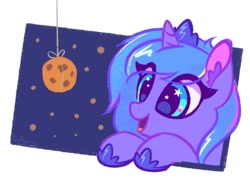 Size: 1000x750 | Tagged: safe, artist:lollipony, character:princess luna, cookie, cute, solo, woona
