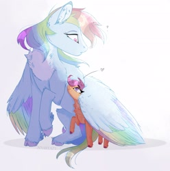 Size: 3142x3161 | Tagged: safe, artist:nyota71, character:rainbow dash, character:scootaloo, chest fluff, cute, heart, scootalove