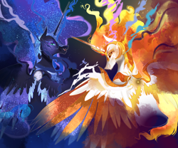 Size: 1200x1000 | Tagged: safe, artist:bunnari, character:daybreaker, character:nightmare moon, character:princess celestia, character:princess luna, species:alicorn, species:pony, fangs, moon, sun