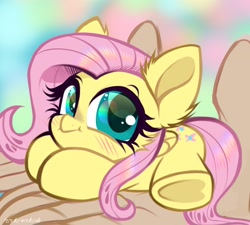 Size: 2808x2530 | Tagged: safe, artist:rrdartist, character:fluttershy, species:pegasus, species:pony, g4, cute, lying down, solo