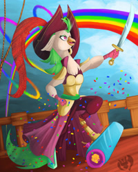 Size: 2400x3000 | Tagged: safe, artist:kenisu-of-dragons, character:captain celaeno, species:anthro, my little pony: the movie (2017), amputee, bird, cannon, clothing, female, hat, high res, parrot, party cannon, pirate, pirate hat, prosthetic leg, prosthetic limb, prosthetics, rainbow, sky, solo, sword, weapon