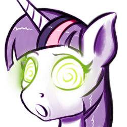 Size: 500x500 | Tagged: safe, artist:cocaine, character:twilight sparkle, character:twilight sparkle (unicorn), species:pony, species:unicorn, g4, glowing eyes, hypnosis, open mouth