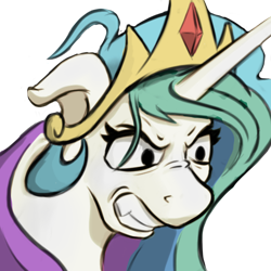 Size: 500x500 | Tagged: safe, artist:cocaine, character:princess celestia, species:alicorn, species:pony, g4, angry, gritted teeth, ragelestia, simple background, solo, transparent background