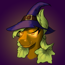 Size: 725x725 | Tagged: safe, artist:cocaine, oc, oc:pumpkin witch, g4, bedroom eyes, clothing, glowing eyes, halloween, hat, holiday, leaf, leaf ears, leaf mane, pumpkin pony, smug, witch, witch hat