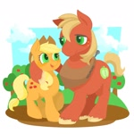Size: 1600x1600 | Tagged: safe, artist:noumiso, character:applejack, character:big mcintosh, species:earth pony, species:pony, g4, apple tree