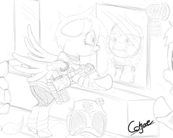 Size: 1280x1024   Tagged: safe, artist:colgatefim, oc, oc only, oc:sunset sherbet, unnamed oc, species:pegasus, species:pony, armor, battle saddle, black and white, clothing, crying, dashite, duo, enclave armor, fallout equestria, fanfic, fanfic art, fear, female, grayscale, gun, hooves, lineart, mare, monochrome, power armor, simple background, soldier, traditional art, uniform, weapon, white background, wings