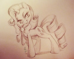 Size: 720x577   Tagged: safe, artist:littletiger488, character:rarity, species:pony, species:unicorn, beautiful, bedroom eyes, bow, female, lidded eyes, mare, monochrome, photoshop, seductive pose, sepia, smiling, solo, traditional art