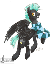 Size: 800x937   Tagged: safe, artist:fallenzephyr, character:thunderlane, clothing, male, scarf, solo
