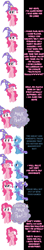 Size: 1000x5685 | Tagged: safe, artist:undead-niklos, character:pinkie pie, character:trixie, species:earth pony, species:pony, species:unicorn, comic:pinkie pie says goodnight, blue text, clothing, comic, duo, duo female, female, get, hat, mare, photoshop, pink text, repdigit milestone, trixie's hat, wizard hat