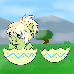 Size: 1080x1080 | Tagged: safe, artist:shooting star, oc, oc only, oc:milli, species:earth pony, species:pony, chibi, easter, easter egg, eponafest, female, holiday, ponytail