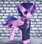 Size: 3400x3600 | Tagged: safe, artist:lakunae, character:twilight sparkle, character:twilight sparkle (alicorn), species:alicorn, g4, brick wall, punk, punklight sparkle, solo