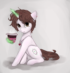 Size: 1024x1073   Tagged: safe, artist:ether-akari, oc, oc only, oc:ily, species:pony, species:unicorn, art trade, digital art, ear piercing, female, food, glowing horn, jewelry, magic, magic aura, mare, necklace, noodles, pasta, piercing, sitting, solo