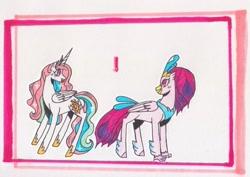 Size: 1063x752   Tagged: safe, artist:draw1709, character:princess celestia, character:queen novo, species:pony, ship:novolestia, my little pony: the movie (2017), female, lesbian, pink-mane celestia, shipping