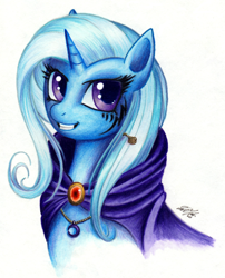 Size: 800x989 | Tagged: safe, artist:lavosvsbahamut, character:trixie, species:pony, species:unicorn, g4, accessories, bust, cape, clothing, colored pencil drawing, coloured pencil, crescent moon, female, jewelry, looking up, mare, moon, necklace, pencil, portrait, simple background, smiling, solo, tattoo, traditional art, trixie's cape, watercolor painting, watercolour, white background