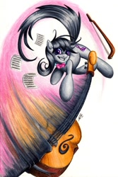Size: 900x1347 | Tagged: safe, artist:lavosvsbahamut, character:octavia melody, species:earth pony, species:pony, action pose, angry, bow, cello, colored pencil drawing, coloured pencil, combat, female, fight, gel pen, jumping, mare, melee weapon, musical instrument, pencil, photoshop elements, sheet, sheet music, simple background, smiling, solo, swing, swinging, traditional art, watercolor painting, watercolour, weapon, white background