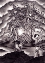 Size: 900x1253 | Tagged: safe, artist:lavosvsbahamut, character:rainbow dash, character:trixie, character:twilight sparkle, species:pegasus, species:pony, species:unicorn, 228, elder sign, eldritch abomination, element of destruction, female, get, grayscale, index get, mare, monochrome, photoshop elements, tattoo, trio, trio female