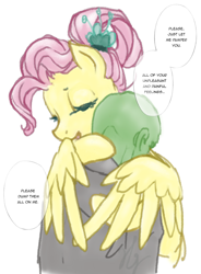Size: 950x1293   Tagged: safe, artist:saby, character:fluttershy, oc, oc:anon, species:human, species:pegasus, species:pony, /mlp/, 4chan, clothing, colored sketch, comforting, dialogue, drawthread, eyes closed, feels, female, hug, male, mare, older, older fluttershy, ponified, ponified scene, shirt, simple background, speech bubble, text, wholesome, winghug