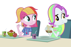 Size: 1008x666   Tagged: safe, artist:furrydiva, base used, character:coconut cream, character:toola roola, my little pony:equestria girls, apple, eating, equestria girls-ified, female, food, juice, juice box, pasta, sandwich, simple background, spaghetti, white background