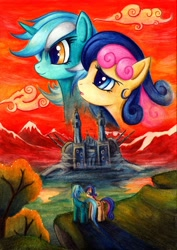 Size: 700x990 | Tagged: safe, artist:lavosvsbahamut, character:bon bon, character:lyra heartstrings, character:sweetie drops, species:earth pony, species:pony, species:unicorn, ship:lyrabon, g4, cloud, colored pencil drawing, crossover, featured on derpibooru, female, lesbian, macross, mare, mountain, parody, photoshop elements, poster, robotech, sdf 1, shipping, smiling, traditional art