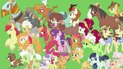 Size: 1863x1050 | Tagged: safe, artist:silverbuller, edit, edited screencap, screencap, character:apple bloom, character:apple rose, character:auntie applesauce, character:autumn blaze, character:babs seed, character:big mcintosh, character:braeburn, character:bright mac, character:burnt oak, character:cherry jubilee, character:coloratura, character:flam, character:flim, character:goldie delicious, character:grand pear, character:granny smith, character:little strongheart, character:pear butter, character:rockhoof, character:scootaloo, character:sugar belle, character:sweetie belle, character:trouble shoes, character:winona, character:yona, species:buffalo, species:earth pony, species:kirin, species:pegasus, species:pony, species:unicorn, species:yak, episode:the last problem, g4, my little pony: friendship is magic, cat, cutie mark crusaders, dog, female, filly, male, mare, stallion, the magic of friendship grows